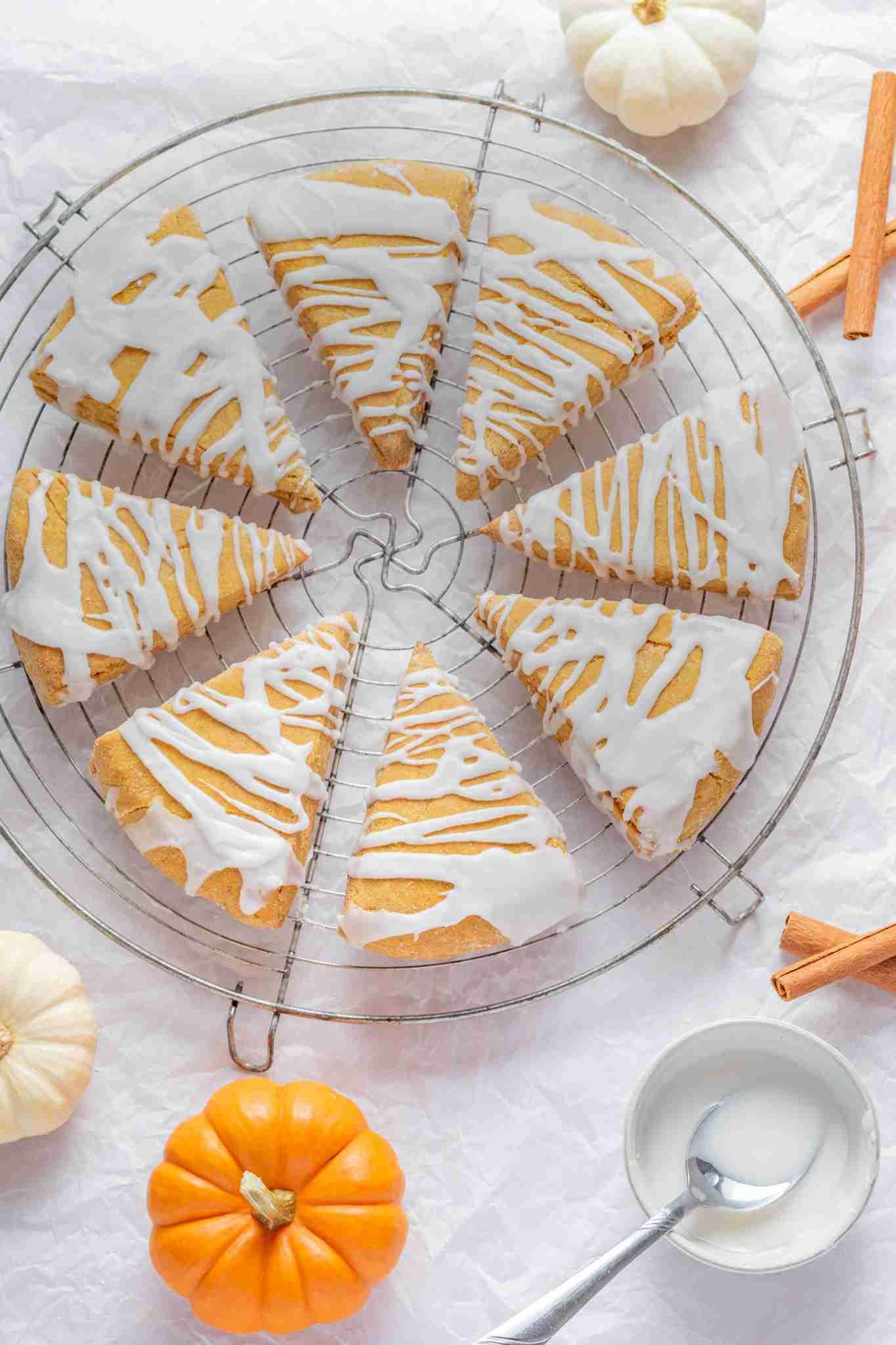Gluten Free Iced Pumpkin Scones